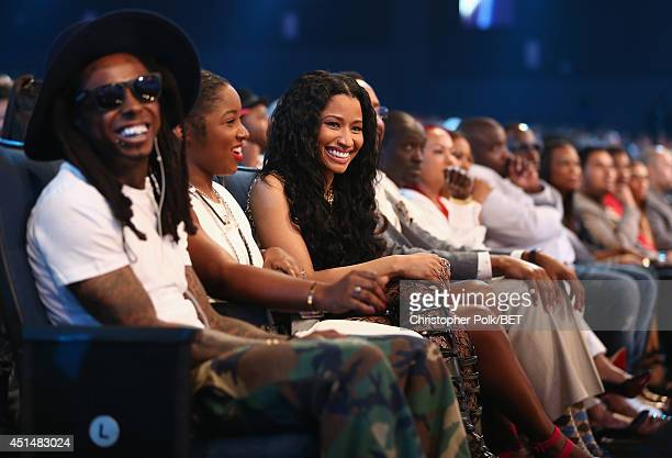 Rapper Lil Wayne Reginae Carter and singer Nicki Minaj attend the BET AWARDS '14 at Nokia Theatre LA LIVE on June 29 2014 in Los Angeles California