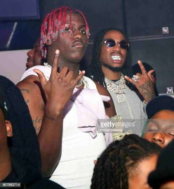 Rapper Lil Yachty and Quavo of The Group Migos attend 'No Cap' Tuesday The Biggest Party Of The Year at Gold Room on January 16 2018 in Atlanta...