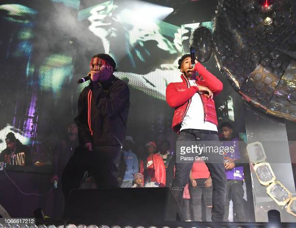 Rapper Lil Yachty and rapper NBA YoungBoy perform onstage during Lil Baby Friends concert to promote the new release of Lil Baby's new album Street...