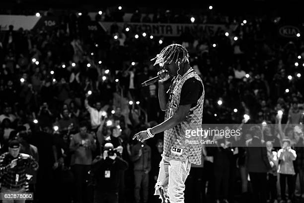 Rapper Lil Yachty performs at halftime during The Washington Wizards VS Atlanta Hawks Game at Philips Arena on January 27 2017 in Atlanta Georgia
