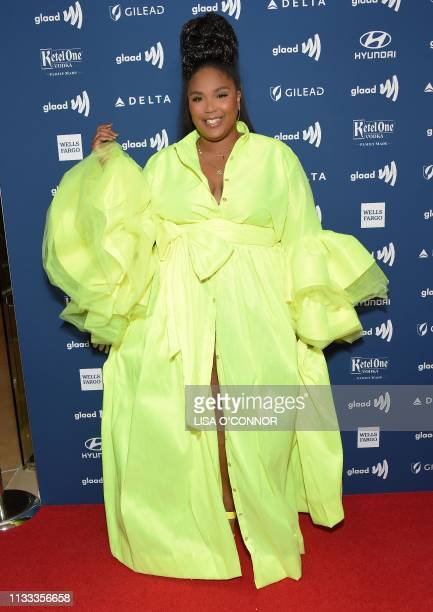 Rapper Lizzo arrives at the 30th Annual GLAAD Media Awards held at the Beverly Hilton Hotel in Beverly Hills on March 28 2019