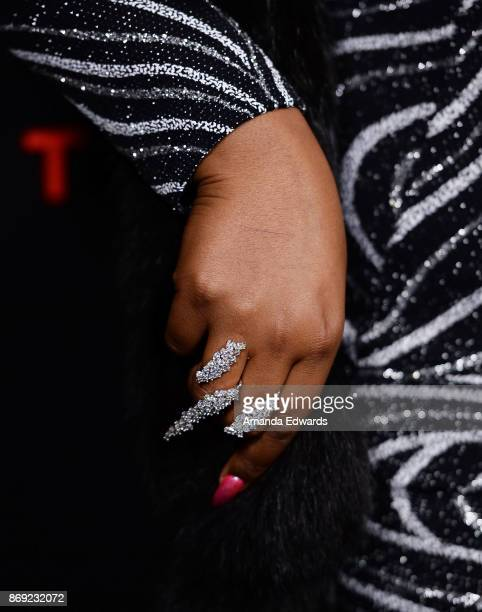 Rapper Lizzo ring detail arrives at Spotify's Inaugural Secret Genius Awards on November 1 2017 in Los Angeles California
