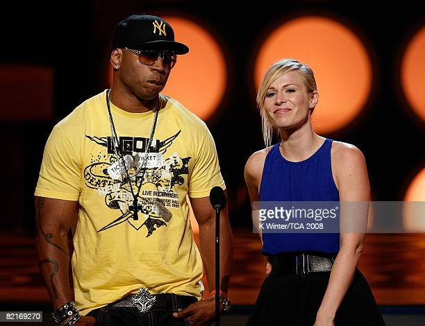 Rapper LL Cool J and Natasha Beddingfield present the Choice RB Artist award onstage during the 2008 Teen Choice Awards at Gibson Amphitheater on...