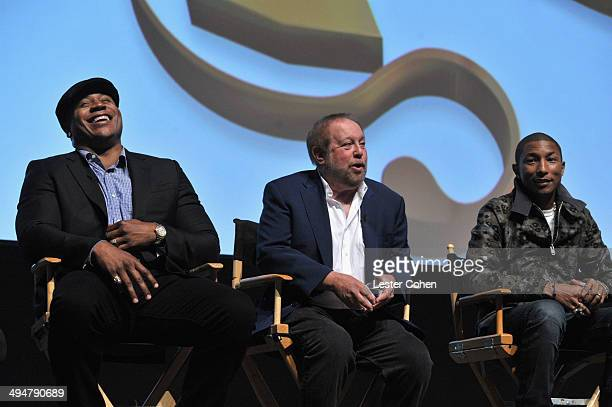 Rapper LL Cool J Grammys Executive Producer Ken Ehrlich and recording artist Pharrell Williams speak onstage during A Conversation About the 56th...