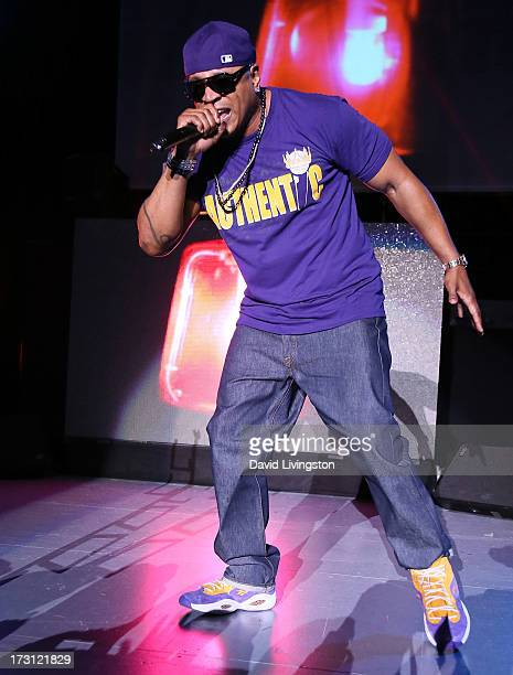 Rapper LL Cool J performs on stage at the Kings of the Mic Tour with special guests LL Cool J Ice Cube Public Enemy and De La Soul at The Greek...