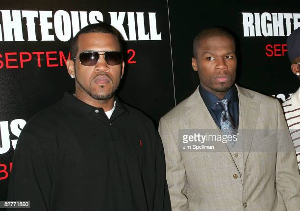 Rapper Lloyd Banks and Actor Curtis '50 Cent' Jackson attends the New York premiere of 'Righteous Kill' at the Ziegfeld Theater on September 10 2008...