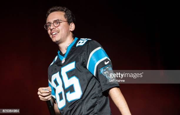 Rapper Logic performs at Charlotte Metro Credit Union Amphitheatre on August 1 2017 in Charlotte North Carolina
