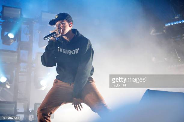 Rapper Logic performs live onstage during 2017 Governors Ball Music Festival Day 3 at Randall's Island on June 4 2017 in New York City