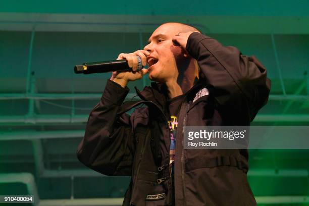 Rapper Logic performs onstage at Spotify's Best New Artist Party at Skylight Clarkson on January 25 2018 in New York City