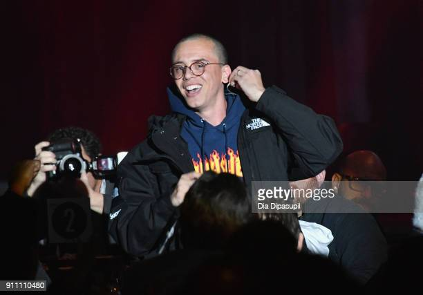 Rapper Logic performs onstage during Sir Lucian Grainge's 2018 Artist Showcase presented by Citi with support from Remy Martin on January 27 2018 in...