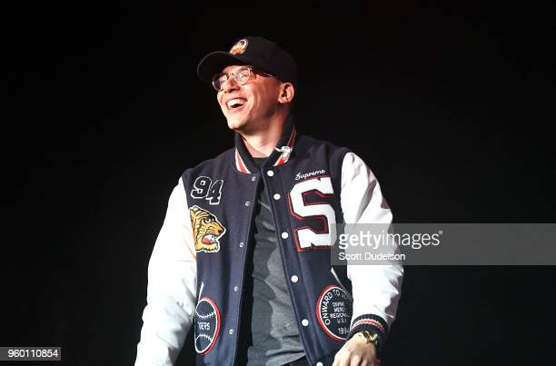 Rapper Logic performs onstage during the Power 106 Powerhouse festival at Glen Helen Amphitheatre on May 12 2018 in San Bernardino California