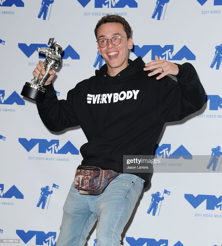 Rapper Logic poses in the press room at the 2017 MTV Video Music Awards at The Forum on August 27, 2017 in Inglewood, California.