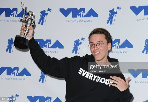 Rapper Logic poses in the press room at the 2017 MTV Video Music Awards at The Forum on August 27 2017 in Inglewood California