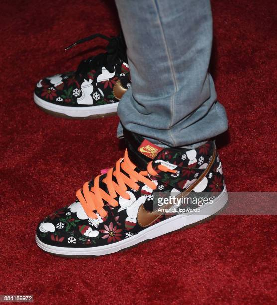 Rapper Logic shoe detail arrives at 1027 KIIS FM's Jingle Ball 2017 at The Forum on December 1 2017 in Inglewood California