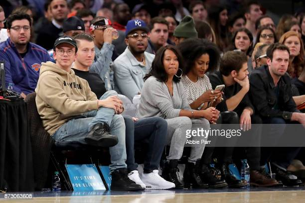Rapper Logic watches the New York Knicks and Sacramento Kings play during their game at Madison Square Garden on November 11 2017 in New York City...