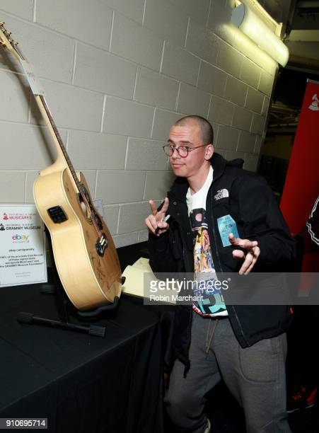 Rapper Logic with the GRAMMY Charities Signings during the 60th Annual GRAMMY Awards at Madison Square Garden on January 26 2018 in New York City