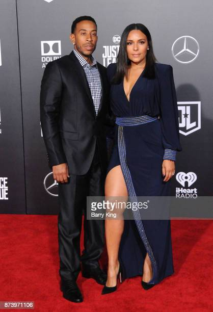 Rapper Ludacris and Eudoxie Mbouguiengue attend the premiere of Warner Bros Pictures' 'Justice League' at Dolby Theatre on November 13 2017 in...