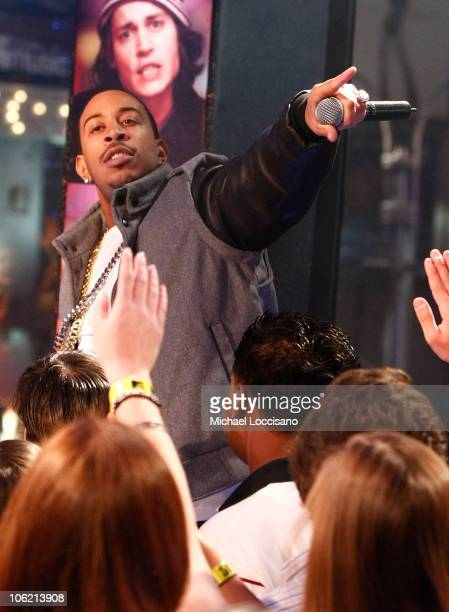 """Rapper Ludacris performs during MTV's TRL """"Total Finale Live"""" at the MTV Studios in Times Square on November 16, 2008 in New York City."""