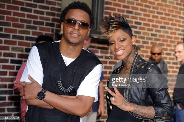 Rapper Lupe Fiasco and singer Sarah Green leave the Late Show With David Letterman taping at the Ed Sullivan Theater on April 25 2011 in New York City