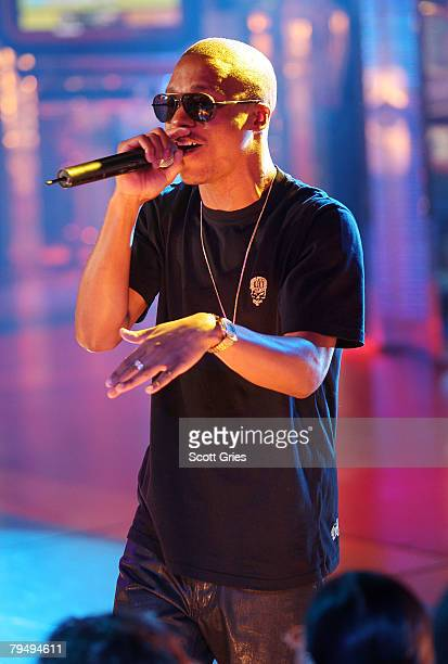Rapper Lupe Fiasco performs during MTV's Mi Total Request Live at the MTV Times Square Studios on January 29 2008 in New York City