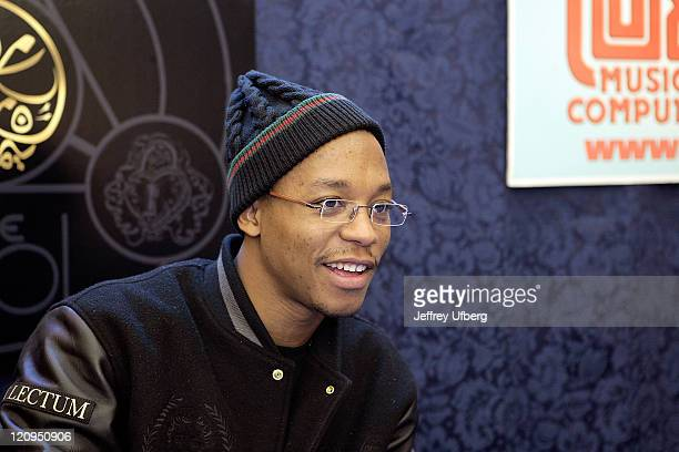 Rapper Lupe Fiasco signs copies of his CD The Cool at JR Music and Co February 2 2008 in New York City