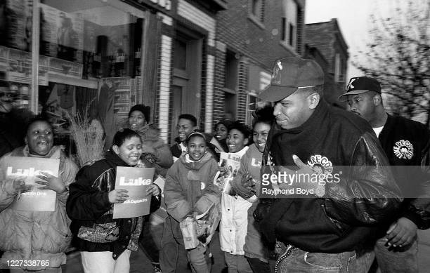 Rapper Luther Campbell, formerly of 2 Live Crew arrives at Fletcher's One Stop to the delight of his young fans in Chicago, Illinois in February 1992.