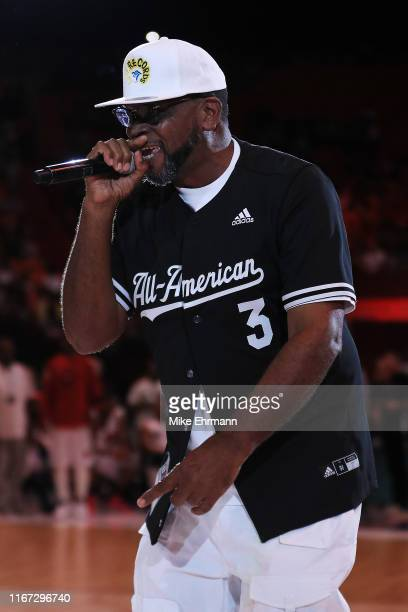 Rapper Luther Campbell performs during week eight of the BIG3 three on three basketball league at AmericanAirlines Arena on August 10, 2019 in Miami,...