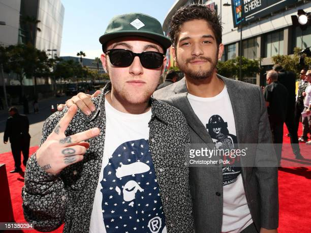 Rapper Mac Miller and actor Tyler Posey arrive at the 2012 MTV Video Music Awards at Staples Center on September 6 2012 in Los Angeles California