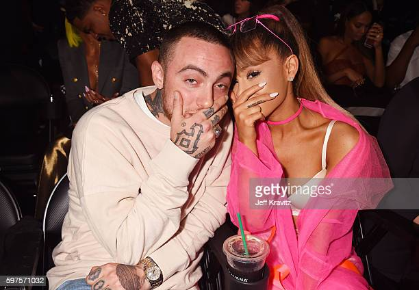 Rapper Mac Miller and singer Ariana Grande pose backstage during the 2016 MTV Video Music Awards at Madison Square Garden on August 28, 2016 in New...