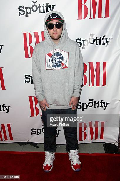 Rapper Mac Miller arrives at the 2012 BMI Urban Awards honoring Mariah Carey at the Saban Theatre on September 7 2012 in Beverly Hills California