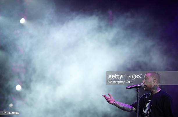 Rapper Mac Miller performs at the Sahara Tent during day 1 of the 2017 Coachella Valley Music Arts Festival at the Empire Polo Club on April 21 2017...