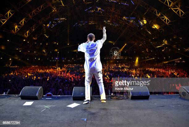 Rapper Mac Miller performs on the Sahara Stage during day 1 of the Coachella Valley Music And Arts Festival at the Empire Polo Club on April 14 2017...