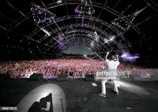 Rapper Mac Miller performs onstage during day 1 of the Coachella Valley Music And Arts Festival at the Empire Polo Club on April 14 2017 in Indio...