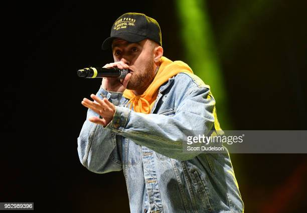 Rapper Mac Miller performs onstage during the Smokers Club Festival at The Queen Mary on April 29 2018 in Long Beach California