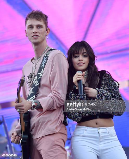 Rapper Machine Gun Kelly and singer Camila Cabello perform at 1027 KIIS FM's 2017 Wango Tango at StubHub Center on May 13 2017 in Carson California