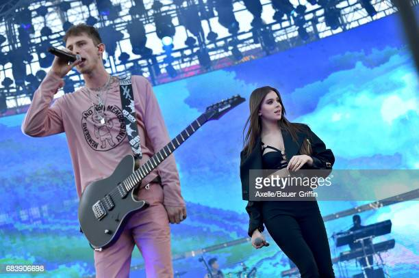 Rapper Machine Gun Kelly and singer Hailee Steinfeld perform at 1027 KIIS FM's 2017 Wango Tango at StubHub Center on May 13 2017 in Carson California