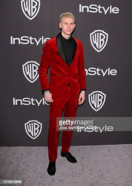 US rapper Machine Gun Kelly arrives for the Warner Bros and In Style 20th annual post Golden Globes party at the Oasis Courtyard of the Beverly...