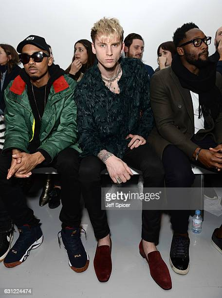 Rapper Machine Gun Kelly attends the Christopher Raeburn show during London Fashion Week Men's January 2017 collections at BFC Show Space on January...