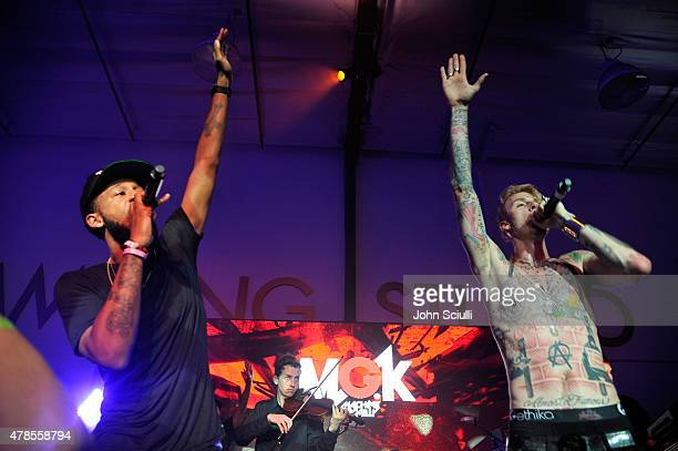 Rapper Machine Gun Kelly gives an intimate performance for fans at the Machine Gun Kelly Album Listening Party at the Samsung Studio LA across from...