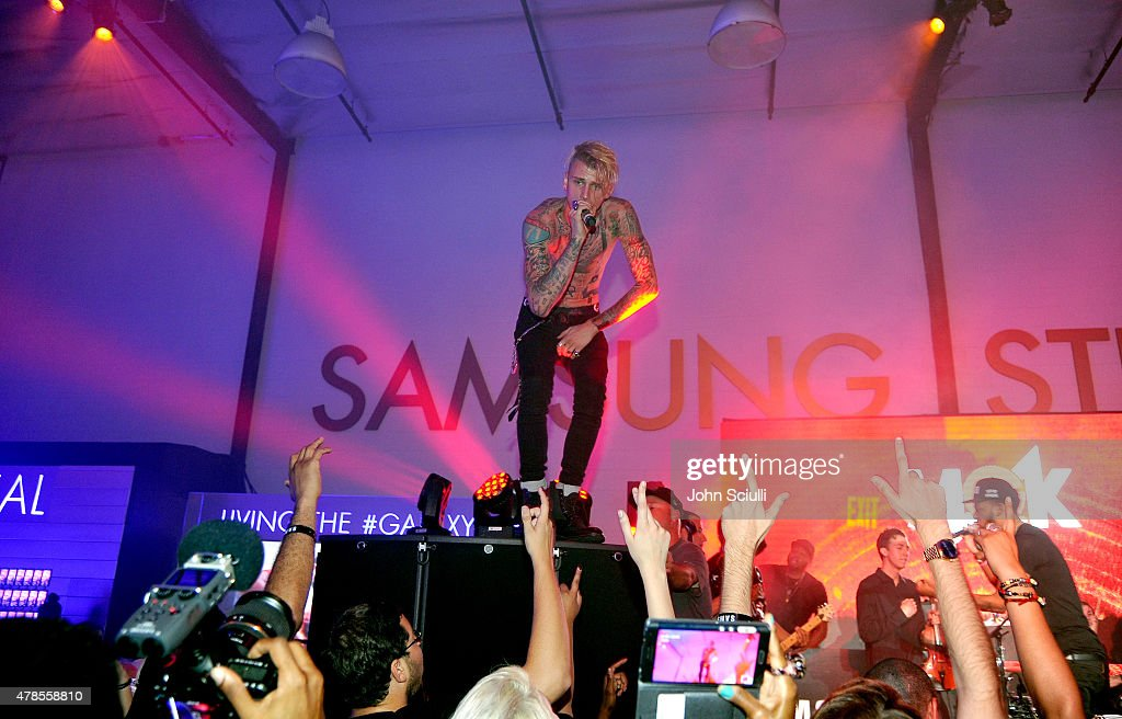 Rapper Machine Gun Kelly gives an intimate performance for fans at the Machine Gun Kelly Album Listening Party at the Samsung Studio LA across from The Grove on June 25, 2015 in Los Angeles, California.
