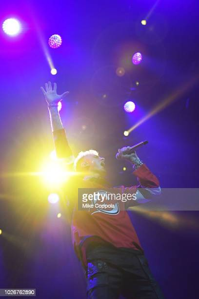 Rapper Machine Gun Kelly performs at Prudential Center on September 4 2018 in Newark New Jersey