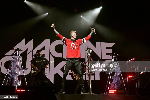 Rapper Machine Gun Kelly performs at Prudential Center on September 4, 2018 in Newark, New Jersey.