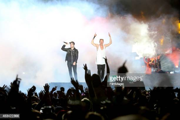 Rapper Macklemore and musician Ryan Lewis perform at the Twin Peaks Stage during day 2 of the 2014 Outside Lands Music and Arts Festival at Golden...