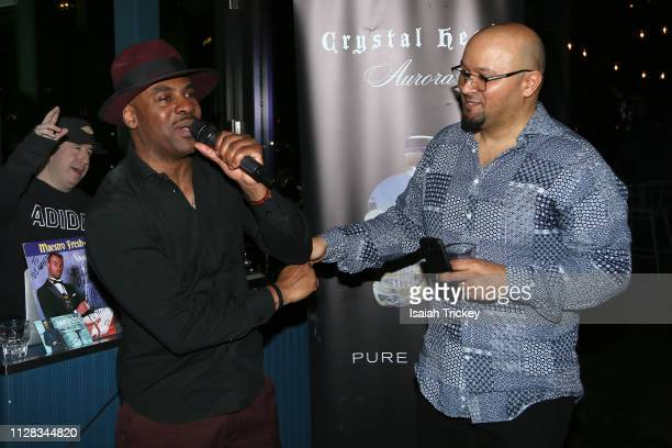 Rapper Maestro Fresh Wes and Chris Jackson attend the Maestro Fresh Wes Champagne Campaign Album Listening Party at the Broadview Hotel on March 1,...