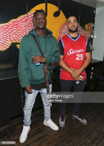 Rapper Manu Crook$ and DJ Ziggy pose during Rap N' Roll & Mood Forever Present Manu Crook$ at Red Bull 381 Projects on May 3, 2018 in Toronto, Canada.