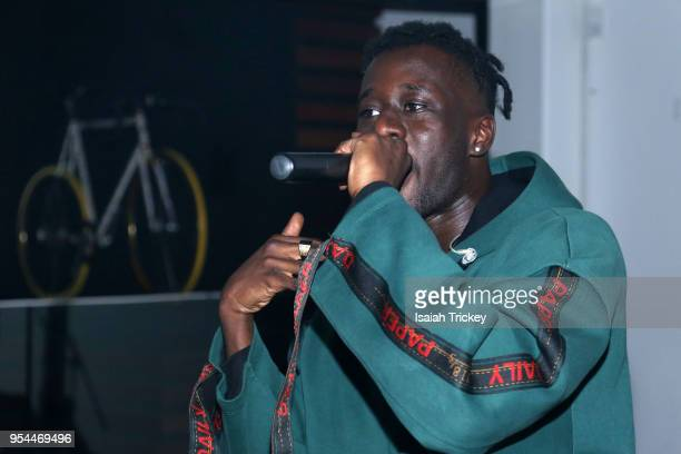 Rapper Manu Crook$ pperforms during Rap N' Roll & Mood Forever Present Manu Crook$ at Red Bull 381 Projects on May 3, 2018 in Toronto, Canada.