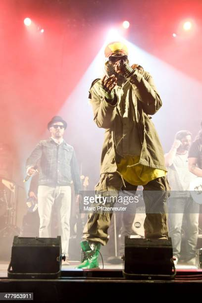 Rapper Marlon B of German pop and soul band Soehne Mannheims performs during their 'Wer fuehlen will muss hoeren Tour' at the EWerk on March 11 2014...