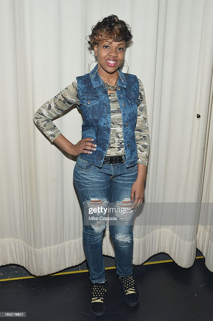 Rapper Martina Lynch poses for a picture at 106 & Park Studio on March 20, 2013 in New York City.