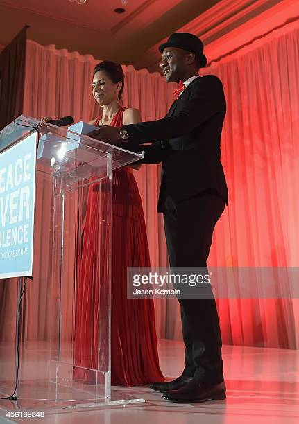 Rapper Maya Jupiter and musician Aloe Blacc accept the Voice Over Violence Award onstage during the Peace Over Violence 43rd annual Humanitarian...