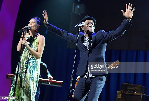 Rapper Maya Jupiter and singer Aloe Blacc perform onstage during Global Citizen The World On Stage on September 22 2016 in New York City